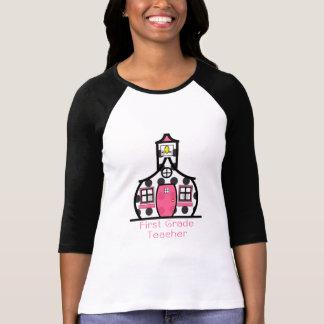 First Grade Teacher Polka Dot Schoolhouse T-shirts