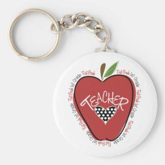 First Grade Teacher Red Apple Basic Round Button Key Ring