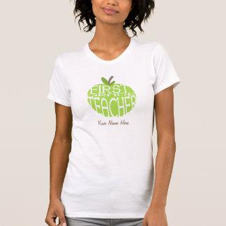 First Grade Teacher T Shirt - Green Apple