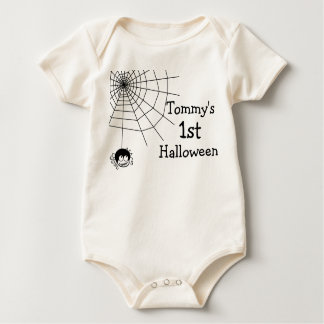 First Halloween Spider Web Baby Custom Name Romper Baby Bodysuit