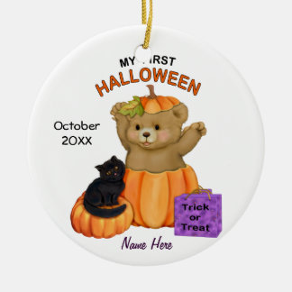 First Halloween Teddy Ceramic Ornament