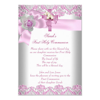 First Holy Communion 1st Cross Girls White Pink 9 Cm X 13 Cm Invitation Card