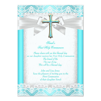 First Holy Communion 1st Girls Cross Teal 2 11 Cm X 16 Cm Invitation Card