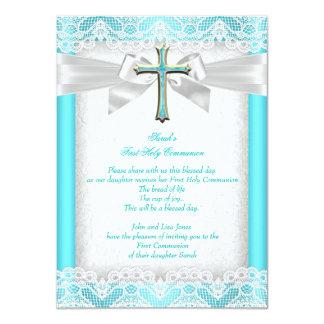 First Holy Communion 1st Girls Cross Teal 2 11 Cm X 16 Cm Invitation Card