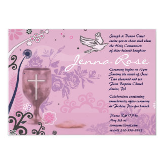 First Holy Communion Chalice Dove Invitation pink