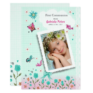 First Holy Communion Floral | Photo Invitations