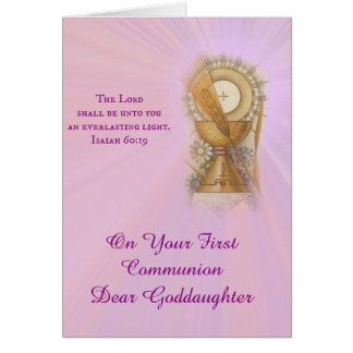 First Holy Communion Girl Host Chalice Customize Card