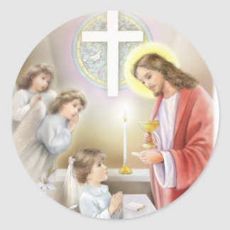First Holy Communion girl Round Sticker