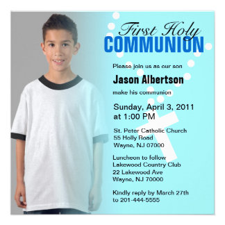 First Holy Communion Invitation Blue Cross