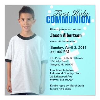 "First Holy Communion Invitation Blue Cross 5.25"" Square Invitation Card"