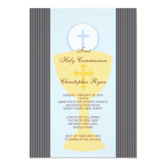 First Holy Communion Invitation Chalice Boy Blue