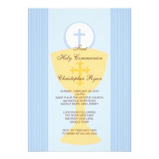 First Holy Communion Invitation Chalice Boy Blue