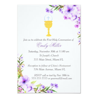 First Holy Communion Invitation Floral Lavender