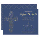First Holy Communion Invitation, Gold Cross Invite