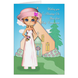 first holy communion little girl and church card