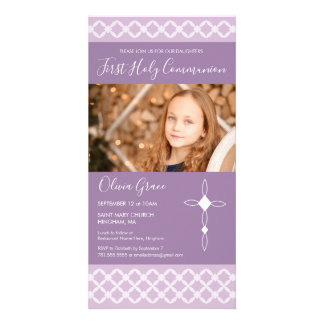 First Holy Communion Photo Card - Girl's, Simple