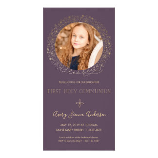 First Holy Communion Photo Card - Invite, Girl
