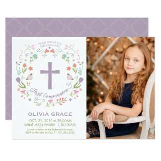 First Holy Communion Photo Invitation, Girl Invite