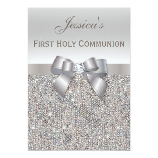 First Holy Communion Silver Sequins and Bow 13 Cm X 18 Cm Invitation Card