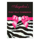 First Holy Communion Zebra Stripes Hot Pink Bow Card