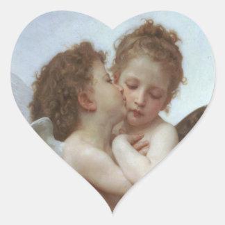 First Kiss - Beautiful Angel Painting Heart Sticker