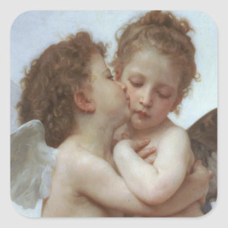 First Kiss - Beautiful Angel Painting Square Sticker
