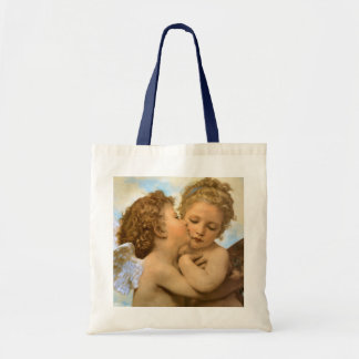 First Kiss by Bouguereau, Vintage Victorian Angels Tote Bag