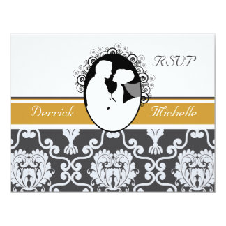 "First Kiss Gold Wedding RSVP Card 4.25"" X 5.5"" Invitation Card"