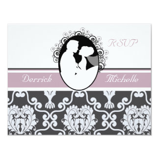 First Kiss Lavender Wedding RSVP Card 11 Cm X 14 Cm Invitation Card