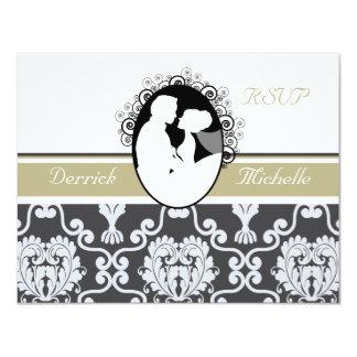 First Kiss Olive Wedding RSVP Card 11 Cm X 14 Cm Invitation Card