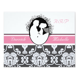 First Kiss Pink Wedding RSVP Card 11 Cm X 14 Cm Invitation Card