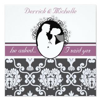 First Kiss Purple Customized Wedding Invitation