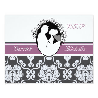 First Kiss Purple Wedding RSVP Card 11 Cm X 14 Cm Invitation Card