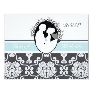First Kiss Sea Blue Wedding RSVP Card 11 Cm X 14 Cm Invitation Card