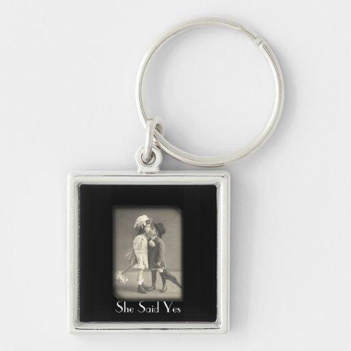 First Kiss She Said  Vintage Photograph Key Chain