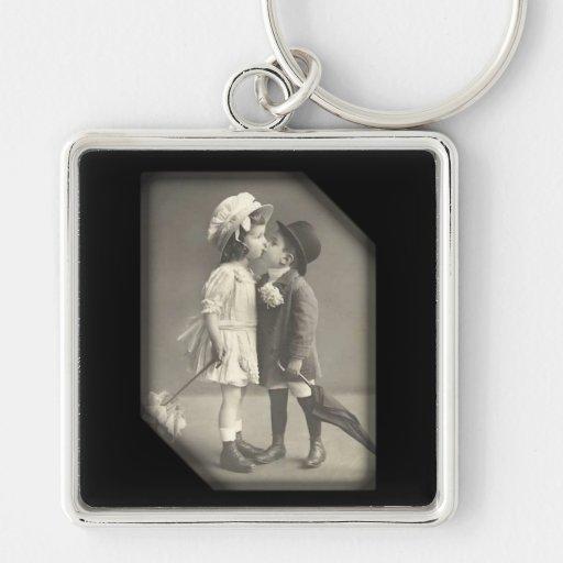 First Kiss Vintage Photograph Key Chain
