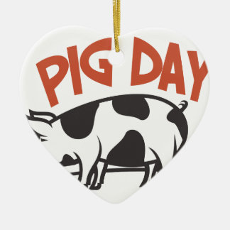 First March - Pig Day Ceramic Heart Decoration