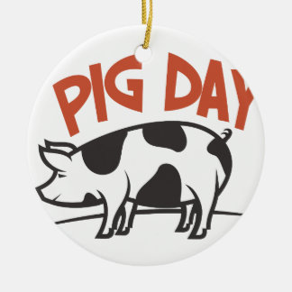First March - Pig Day Round Ceramic Decoration