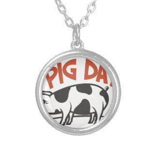 First March - Pig Day Silver Plated Necklace
