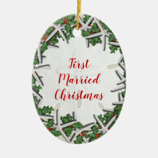 First Married Beach Christmas Double Sided Oval Ceramic Ornament