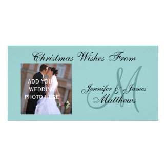 First Married Christmas Monogram Blue Photo Card