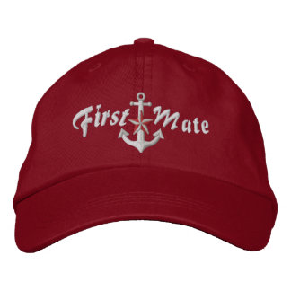 First Mate Nautical Star Anchor White Embroidered Cap