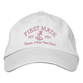 First Mate With Anchor Personalized Embroidered Hats