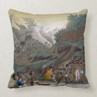 First Meeting of French Explorers with the Indigen Throw Pillow