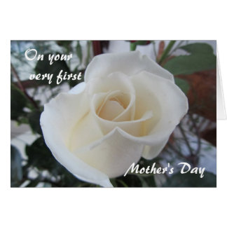 First Mother's Day-for Daughter-White Rose Card