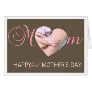 First Mother's Day Photo Heart New Mum Pink Brown Greeting Card