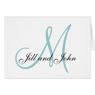 First Names Blue Initial Wedding Invitations