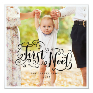 FIRST NOEL | MODERN CHIC HOLIDAY PHOTO CARD 13 CM X 13 CM SQUARE INVITATION CARD