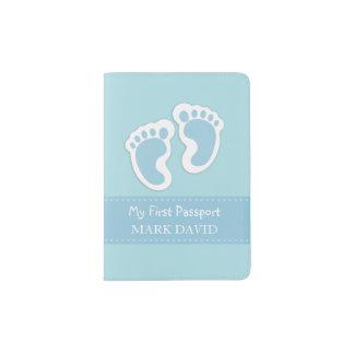 First Passport Baby Boy Footprints Blue Custom