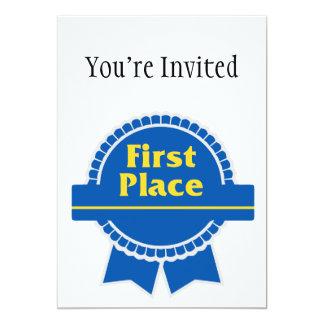 First Place Blue & Gold Ribbon 13 Cm X 18 Cm Invitation Card